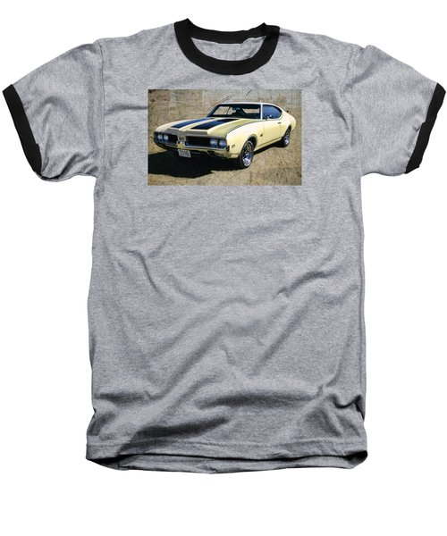 Baseball T-Shirt featuring the photograph '69 Oldsmobile 442 by Victor Montgomery