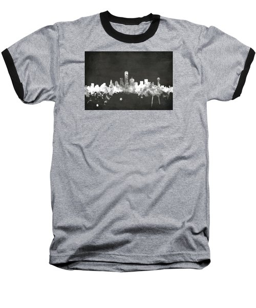 Dallas Texas Skyline Baseball T-Shirt by Michael Tompsett