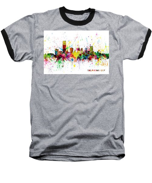 Baseball T-Shirt featuring the digital art Oklahoma City Skyline by Michael Tompsett