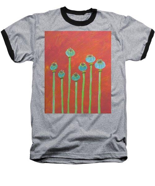7 Poppy Seed Pods Baseball T-Shirt