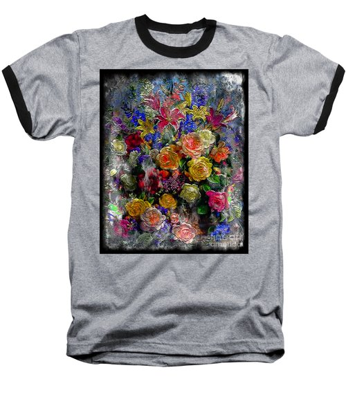 7a Abstract Floral Painting Digital Expressionism Baseball T-Shirt