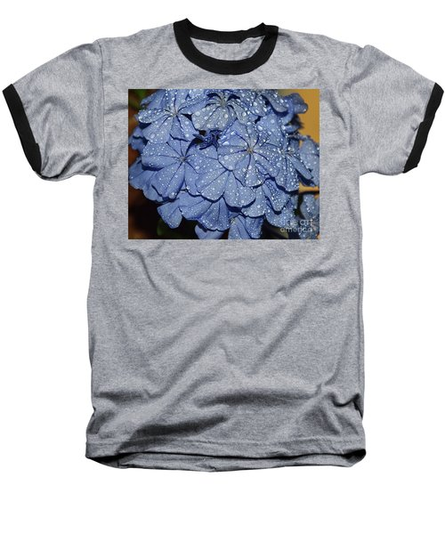 Blue Plumbago Baseball T-Shirt by Elvira Ladocki