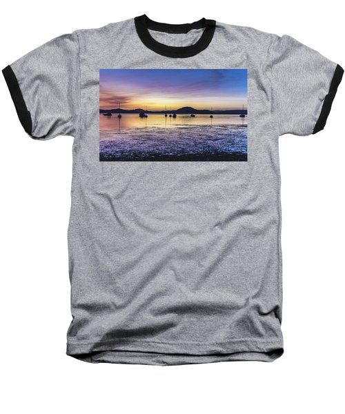 Dawn Waterscape Over The Bay With Boats Baseball T-Shirt