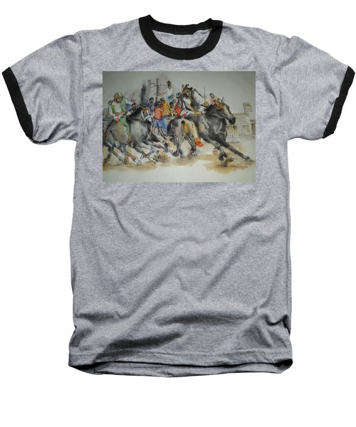 Baseball T-Shirt featuring the painting Siena And Their Palio Album by Debbi Saccomanno Chan