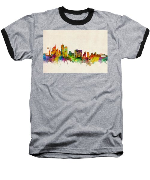 Sydney Australia Skyline Baseball T-Shirt by Michael Tompsett