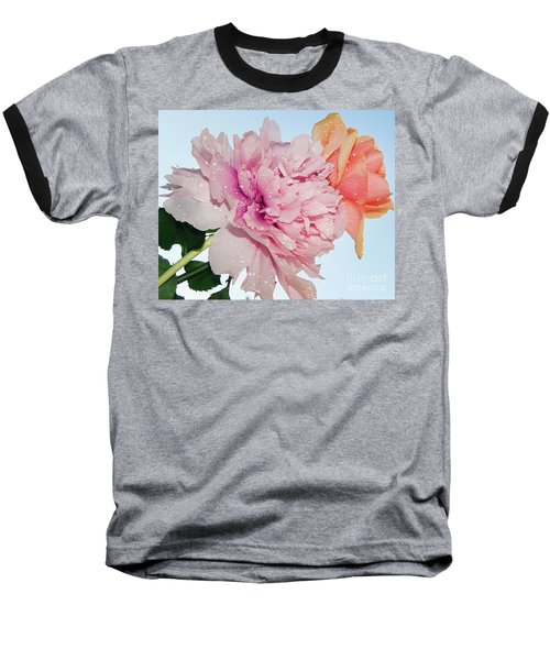 Two Flowers Baseball T-Shirt by Elvira Ladocki