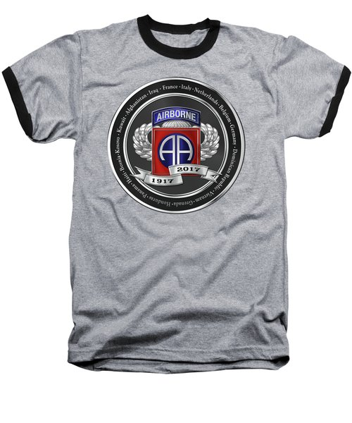 Baseball T-Shirt featuring the digital art 82nd Airborne Division 100th Anniversary Medallion Over Red Velvet by Serge Averbukh
