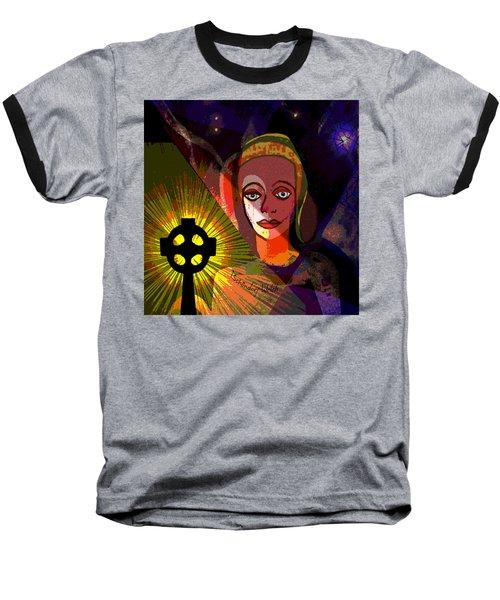 Baseball T-Shirt featuring the digital art 863 - A Celtic Cross by Irmgard Schoendorf Welch