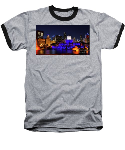 911 Tribute At Buckingham Fountain, Chicago Baseball T-Shirt by Zawhaus Photography