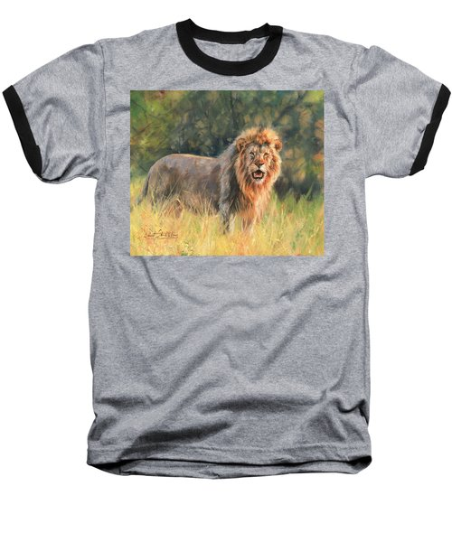 Baseball T-Shirt featuring the painting Lion by David Stribbling