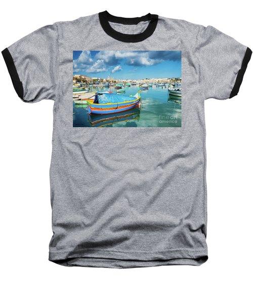 Marsaxlokk Harbour And Traditional Mediterranean Fishing Boats I Baseball T-Shirt