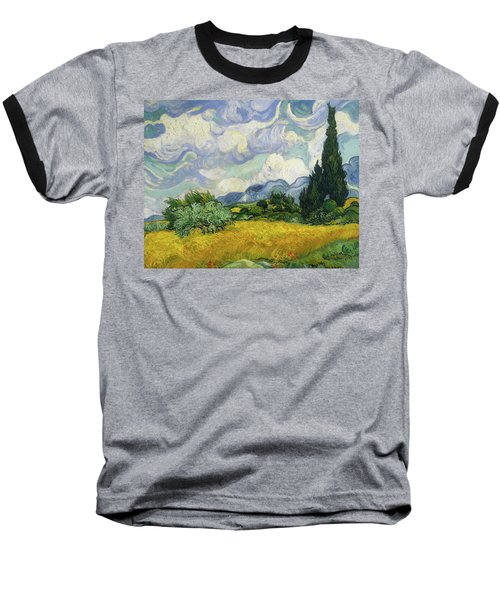 Baseball T-Shirt featuring the painting Wheat Field With Cypresses by Vincent van Gogh