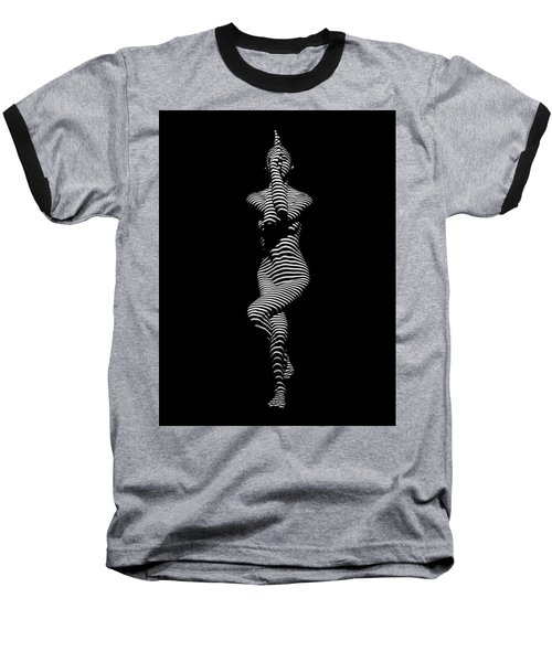 9486-dja Yoga Woman Illuminated In Stripes Zebra Black White Absraction Photograph By Chris Maher Baseball T-Shirt