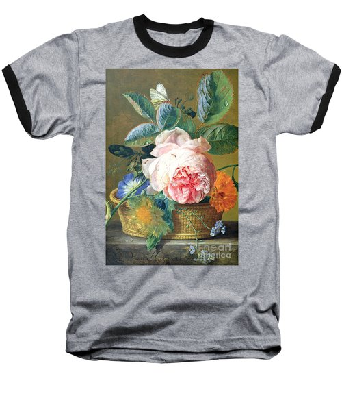 A Basket With Flowers Baseball T-Shirt by Jan van Huysum
