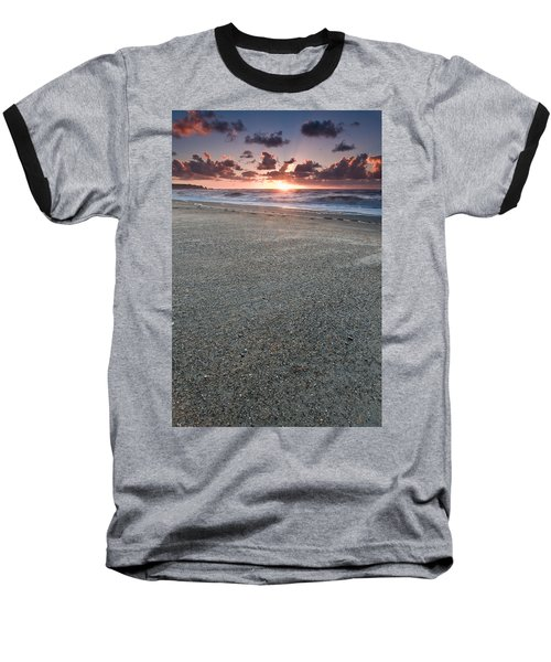 A Beach During Sunset With Glowing Sky Baseball T-Shirt