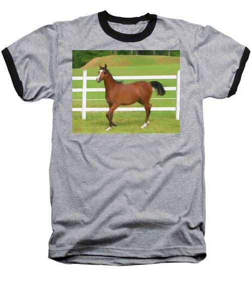 A Beautiful Arabian Filly In The Pasture. Baseball T-Shirt
