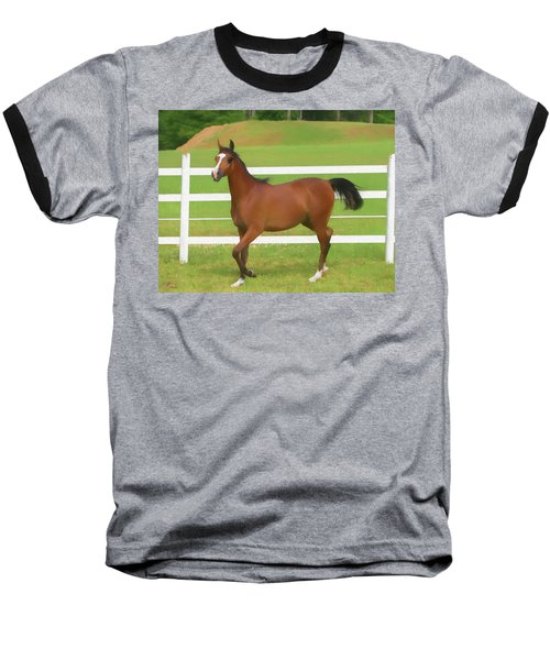 A Beautiful Arabian Filly In The Pasture. Baseball T-Shirt
