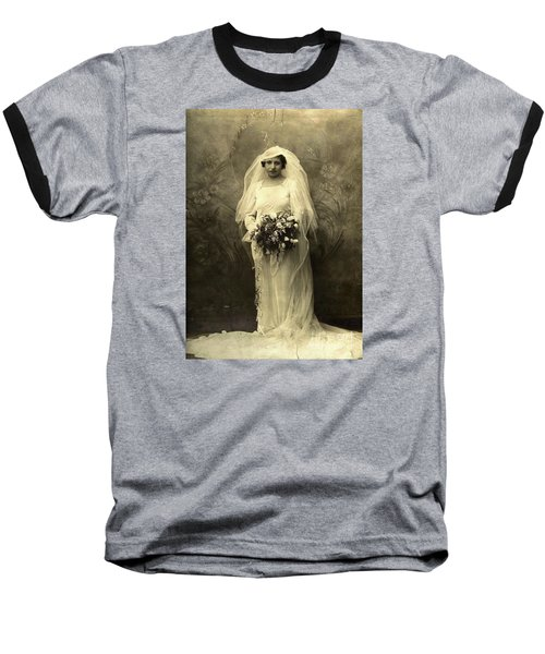 A Beautiful Vintage Photo Of Coloured Colored Lady In Her Wedding Dress Baseball T-Shirt