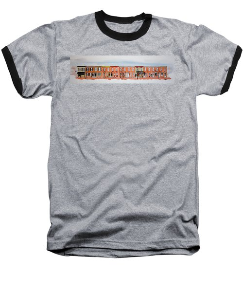 A Bit Of Scott Street  7x30 Baseball T-Shirt by William Renzulli