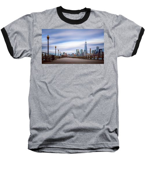 Baseball T-Shirt featuring the photograph A Boardwalk In The City by Eduard Moldoveanu