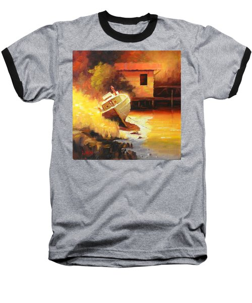 A Boat In A Sunny Day Baseball T-Shirt