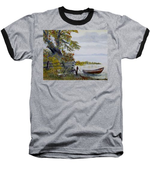 Baseball T-Shirt featuring the painting A Boat Waiting by Marilyn  McNish