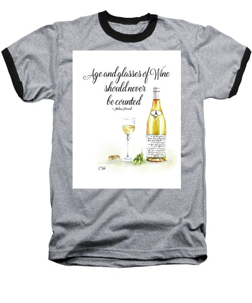 Baseball T-Shirt featuring the digital art A Bottle Of White Wine by Colleen Taylor
