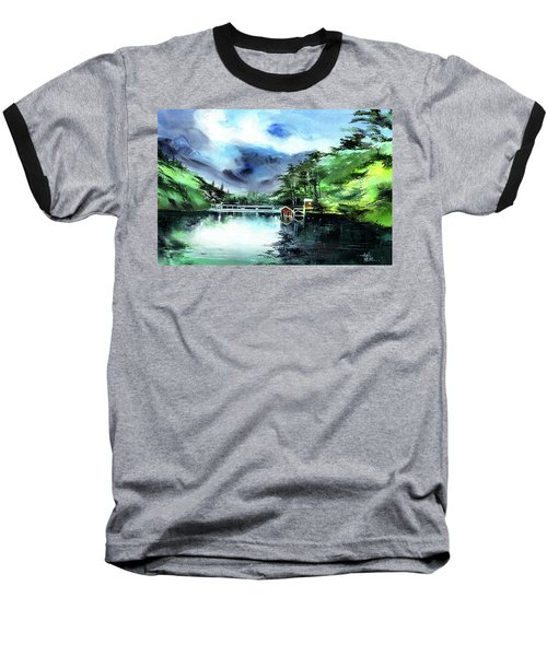 Baseball T-Shirt featuring the painting A Bridge Not Too Far by Anil Nene