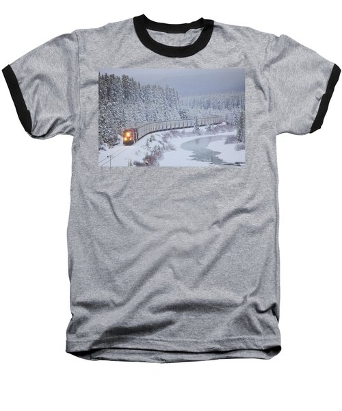 A Canadian Pacific Train Travels Along Baseball T-Shirt by Chris Bolin