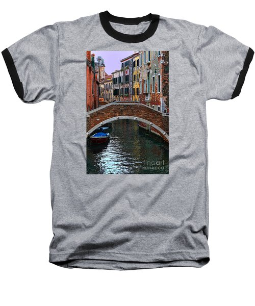 A Canal In Venice Baseball T-Shirt by Tom Prendergast