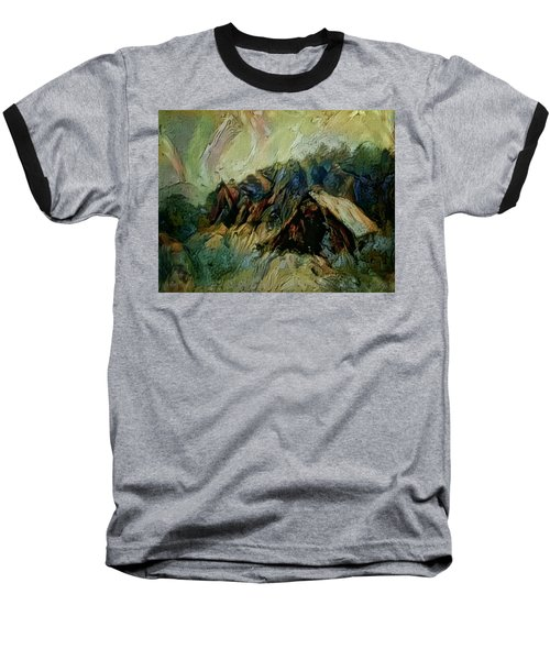A Chance In The World Movie Dark Barn Crowded Into A Gully Between A Large Rocky Hill And A Grove Of Baseball T-Shirt by Mendyz