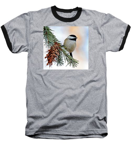 Baseball T-Shirt featuring the photograph A Christmas Chickadee by Rodney Campbell