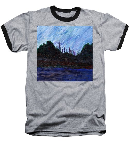 Baseball T-Shirt featuring the painting A City That Never Sleeps by Vadim Levin