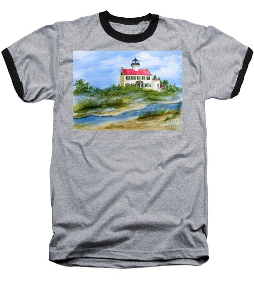 Baseball T-Shirt featuring the painting A Clear Day At East Point Lighthouse by Nancy Patterson