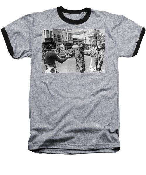 Baseball T-Shirt featuring the photograph A Close Call, San Francisco Street Artists by Frank DiMarco