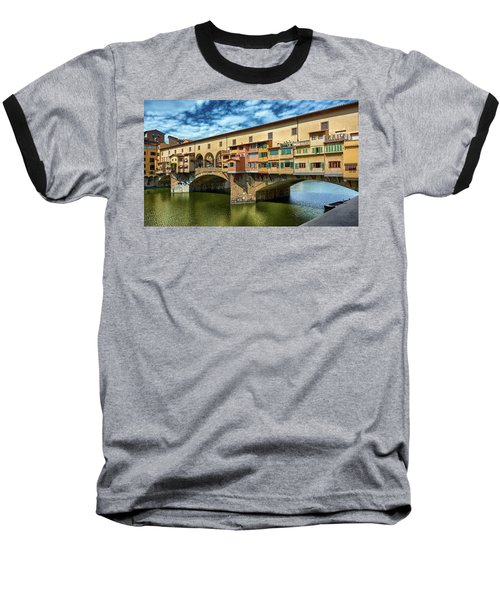 Ponte Vecchio On The Arno River Under A Blue Sky In Florence, Italy Baseball T-Shirt