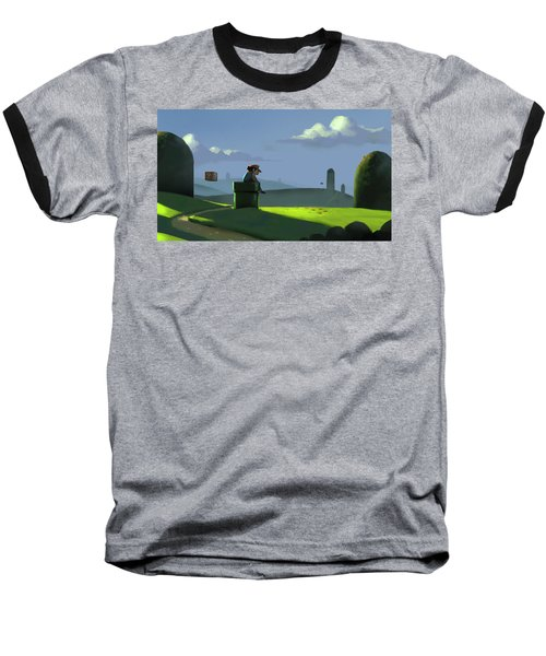 Baseball T-Shirt featuring the painting A Contemplative Plumber by Michael Myers