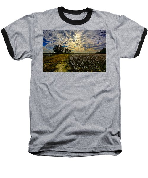 A Cotton Field In November Baseball T-Shirt by John Harding