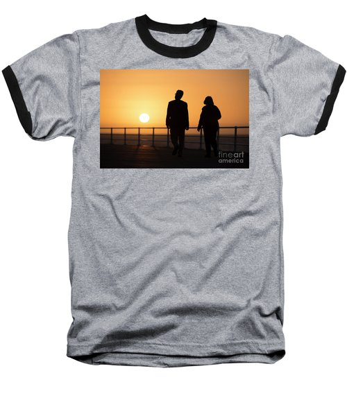 A Couple In Silhouette Walking Into The Sunset Baseball T-Shirt
