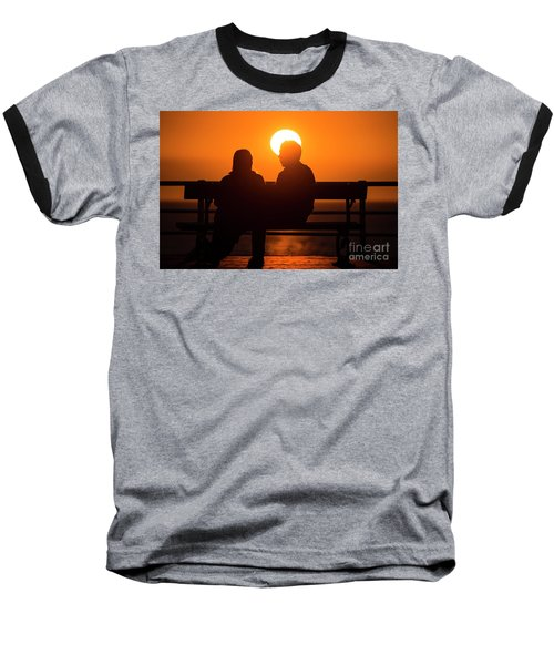 A Couple Sitting At Sunset Baseball T-Shirt