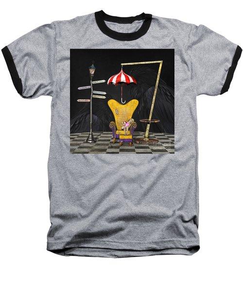 A Curious Bus Stop Baseball T-Shirt