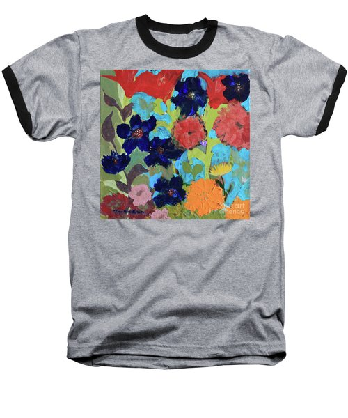 Baseball T-Shirt featuring the painting A Dandelion Weed Making It's Way In The Garden by Robin Maria Pedrero
