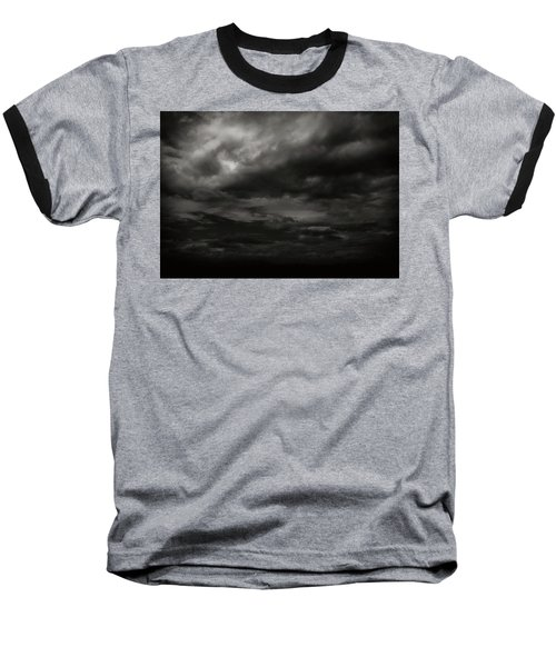 A Dark Moody Storm Baseball T-Shirt by John Norman Stewart