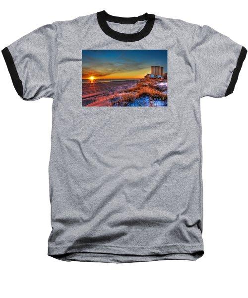 A December Beach Sunset Baseball T-Shirt