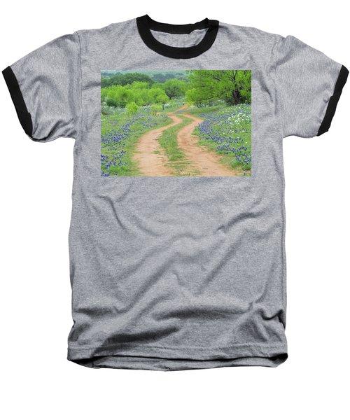 A Dirt Road Lined By Blue Bonnets Of Texas Baseball T-Shirt