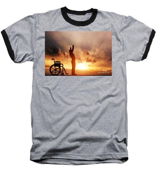 A Disabled Man Standing Up From Wheelchair Baseball T-Shirt