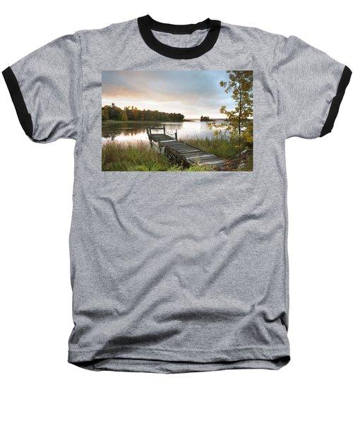 A Dock On A Lake At Sunrise Near Wawa Baseball T-Shirt