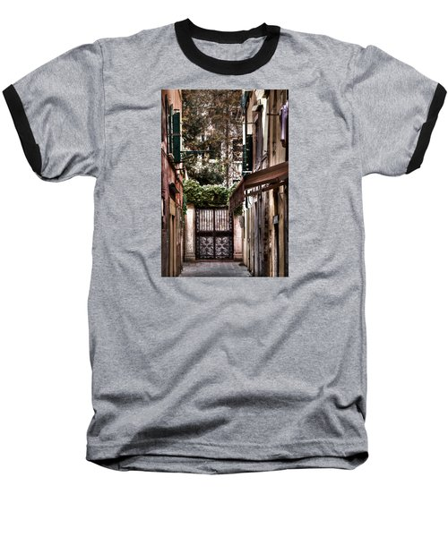 Baseball T-Shirt featuring the photograph A Doorway In Venice With Oil Effect by Tom Prendergast