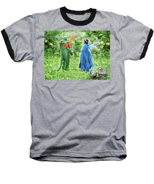 A Dragon Confides In A Fairy Baseball T-Shirt by Lise Winne