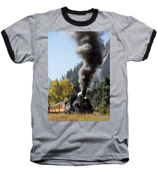 A Durango And Silverton Narrow Gauge Scenic Railroad Train Chugs Through The San Juan Mountains Baseball T-Shirt by Carol M Highsmith
